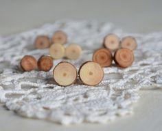Earthy colors at DaWanda Stud Earrings – Natural wooden stud earrings, mens earrings – a unique product by HankaG on DaWanda