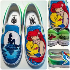 These are a pair of hand painted Vans shoes inspired by Disneys The Little Mermaid. These shoes were commissioned and are just an EXAMPLE of what Custom Vans Shoes, Custom Painted Shoes, Painted Vans, Painted Canvas Shoes, Painted Sneakers, Hand Painted Shoes, Painted Clothes, Cool Vans Shoes, Disney Vans