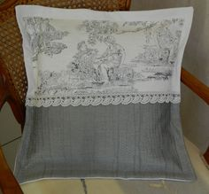 """French fabric """"toile de Jouy"""" pillow cover - cushion cover - handmade in France - linen and cotton vintage - free shipping"""