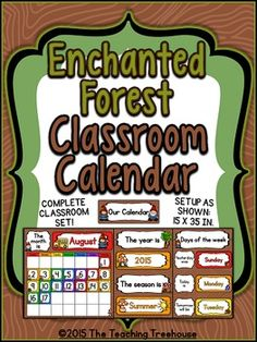 Your students will love calendar time with this adorable calendar! The calendar set up as shown measures 15 x 35 inches, and will go great with any enchanted forest classroom décor. Includes a monthly calendar, year, seasons, and days of the week charts. Easy assembly instructions are provided. Both US and Australian versions are included. $