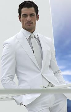David Gandy in an all white suit.