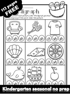 Free kindergarten activities and worksheets. 100 free printables for kindergarten learning. Tons of awesome literacy and math worksheets to engage your students to learn about spring summer fall and winter with fun. Kindergarten Learning, Kindergarten Worksheets, Kindergarten Activities, Teaching Reading, Phonics Reading, Phonics Activities, Shape Activities, Digraphs Worksheets, Subtraction Kindergarten