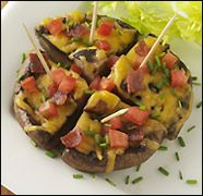Hungry Girl - Portobello skins ( I would use reduced-fat cheese instead of fat free...gotta get that melty goodness!!)