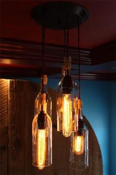 Unique Hand Made Wine Bottle Chandelier Light Fixture Tuscan Rustic Modern Lamp - some day I might do this...