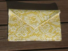 Yellow and Cream Lace Oversized Envelope Clutch by Erindee on Etsy, $40.00