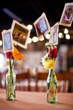 Are You Ready For Your Wedding Rehearsal ? Copy This Decoration Ideas - Hochzeit Rehearsal Dinner Decorations, Wedding Decorations, Table Decorations, Wedding Rehearsal, Rehearsal Dinners, Photo Centerpieces, Beer Bottle Centerpieces, Centerpiece Ideas, Non Flower Centerpieces