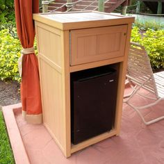 Custom synthetic wood refrigerator cabinet with storage box above. Refrigerator Cabinet, Custom Woodworking, Wood Furniture, Filing Cabinet, Storage, Box, Home Decor, Timber Furniture, Purse Storage