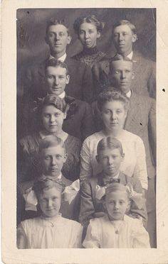Peas in a Pod ~ An Edwardian real photo postcard of 11 siblings