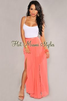 6ee281dfc Coral Pleated Side Slit Maxi Skirt Hot Miami Styles, Coral, Spring Summer  Fashion,