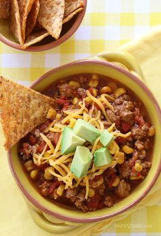 Crock Pot Kid-Friendly Turkey Chili | Skinnytaste.  Loved this, though I cut down on the chili and added a can of beans.  Adam loved it!