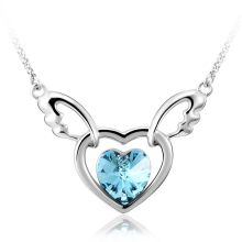 Pretty Blue Heart Necklace with Wings