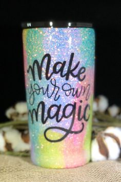 Make your own Magic Multicolored glitter Stainless Steel Diy Tumblers, Personalized Tumblers, Custom Tumblers, Glitter Tumblers, Glitter Wine, Glitter Cups, Tumbler Cups, Tumbler Stuff, Vases