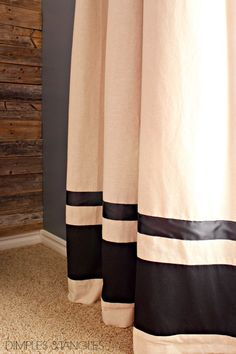 Customization of Ikea curtains and a DIY industrial curtain rod. Ikea Curtains, Drop Cloth Curtains, Green Curtains, Cafe Curtains, White Curtains, Kitchen Curtains, Two Tone Curtains, Patterned Curtains, Home Decor Ideas