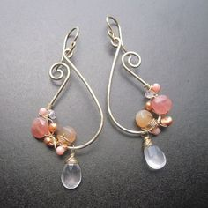 Shades of Peach Paisley Asymmetrical Earrings - PEACH DREAM - 14k gold fill wire wrapped, hammered by wanting