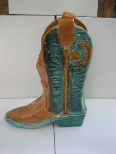 Splendid Newly Hand-crafted Ladies Western Cowboy Glazed Ceramic Pottery Folk Art Statue Figurine by Hafsa Feat. Crescent Moon & Star by 7twentyone on Etsy