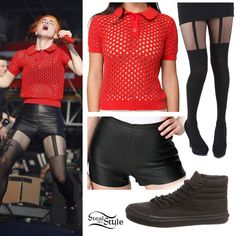 lead singer of Paramore Rebel Outfit, Badass Outfit, Hayley Williams Style, Vans Sk8 Hi Slim, Cute Edgy Outfits, Tennis Shirts, Polo Sweater, Next Clothes, Leather Shorts