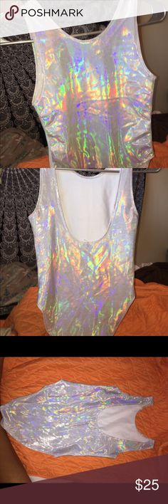 Holographic bodysuit Holographic smooth texture bodysuit! Perfect for raves, music festivals and costumes! Silky touch and easy to move around in. Stretchy and comfortable. Jaceys Other