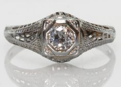 18k White Gold Diamond Filigree Solitaire Ring size 5.5 #Handmade #Solitaire #diamondring #bellmansjewelers #bellmansonlinestore