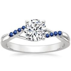 Diamond Rings : 18K White Gold Chamise Ring with Sapphire Accents