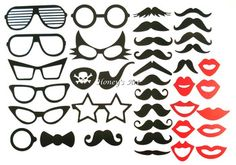38 unids partido bricolaje divertidas máscaras de Photo Booth atrezzo diversión Pirate Eye Patch labios bigote arco en un accesorio de la boda muestra de cumpleaños