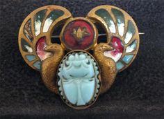 EGYPTIAN REVIVAL ENAMEL WINGED GLASS SCARAB PIN c. 1920