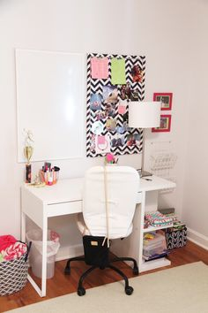 Even the simplest desk can be functional with the right storage | Refresh your teen's bedroom to last! Add modern touches in fresh colors with pops of fun! Sophisticated and modern, its sure to last until college! | Sumptuous Living | http://sumptuousliving.net/modern-teen-bedroom/