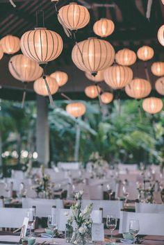 Beautiful lanterns for high ceiling decoration during your wedding reception. #HoiAnEventsWeddings #HoiAn #VietnamBeachWeddings