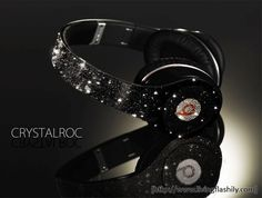 Swarovski Crystals Studded Dr. Dre Beats Headphone by CrystalRoc via livingflashily.com.
