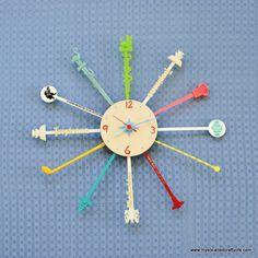 DIY Mid Century Modern Inspired Cocktail Stirrer Clock - My So Called Crafty Life
