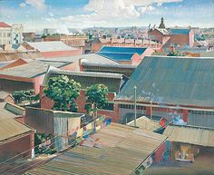 Perth rooftops (suburban Perth) Oil on canvas. Rooftops, Australian Artists, Perth, 2d, Oil On Canvas, Art Gallery, Landscape, Collection, Art Museum