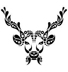Illustration of Deer tattoo, symbol decoration illustration. Pattern in shape of deer vector art, clipart and stock vectors. Arm Tattoo, Deer Head Tattoo, Raven Tattoo, Head Tattoos, Fox Tattoos, Tree Tattoos, Samoan Tattoo, Polynesian Tattoos, Tattoo Ink