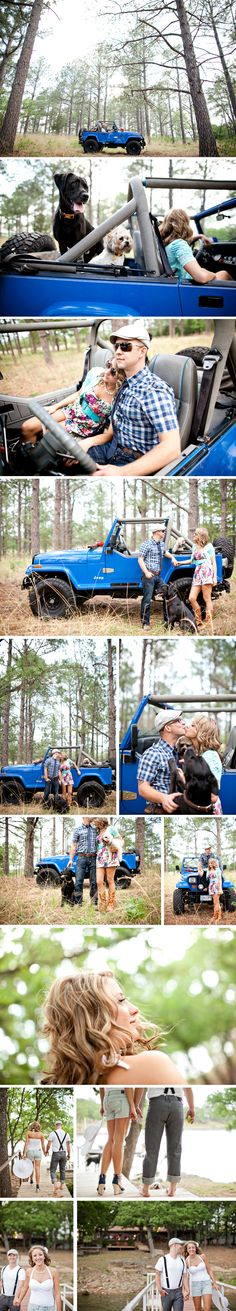 @Natalie Jost Blue Jeep Roadtrip themed Engagements.....but really......