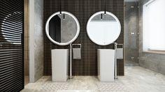 A Tour Of 4 Homes With Comfortable Wood Wall  Treatments     /     idea de la pared del baño, lavamanos, grifería ... !!!!!!!!!!!!!!!!!!