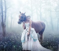 My Horse, beautiful, beauty, fantasy, flowers, foggy, forest, girl, Horse, horses, peaceful, trees, white, woman