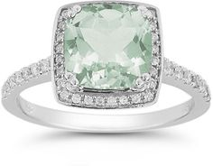 ApplesofGold.com - Green Amethyst and Pave Diamond Halo Ring in 14K White Gold Gemstone Jewelry $995.00