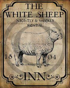 Primitive Colonial White Sheep Inn Tavern Sign by Starrmtnprims Primitive Kunst, Primitive Signs, Country Primitive, Primitive Sheep, Farm Signs, Pub Signs, Shop Signs, Antique Signs, Vintage Signs
