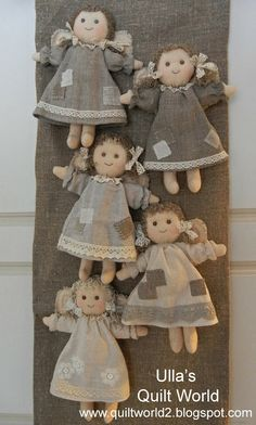 Ulla's Quilt World: Angel and pattern, quilt Ulla's Quilt World: Engel und Muster, Quilt Doll Crafts, Diy Doll, Sewing Crafts, Fabric Toys, Fabric Crafts, Softies, Craft Projects, Sewing Projects, Angel Crafts