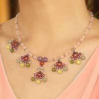Beaded gemstone necklace, 'Lily Bouquet' by NOVICA