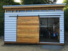Plans to Build a shed on a weekend - DIY Northwest Modern Shed Plan Build a Shed on a Weekend - Our plans include complete step-by-step details. If you are a first time builder trying to figure out how to build a shed, you are in the right place! Backyard Sheds, Outdoor Sheds, Garden Sheds, Backyard Storage Sheds, Shed Conversion Ideas, Home And Garden Store, Modern Shed, Shed Kits, Bike Shed