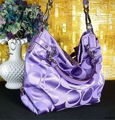 Coach Brooke Super RARE Sexy Purple Signature Sateen Hobo Tote Bag Purse | eBay