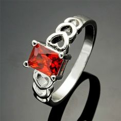 Silver Plated Heart Ring  With Red Cubic Zirconia Stone Various Sizes