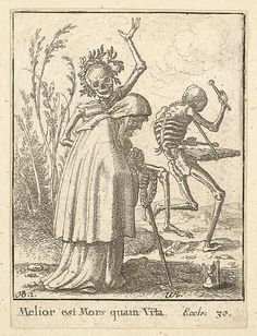 Wenceslaus Hollar (Wenzel Vaclav) (Bohemian, 1607–1677). Old Woman, from the Dance of Death, 1651. The Metropolitan Museum of Art, New York. The Elisha Whittelsey Collection, The Elisha Whittelsey Fund, 1951 (51.501.2139) #skeleton #Halloween
