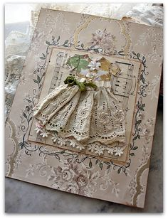 Gorgeous Shabby Vintage Card...with eyelet lace dress.