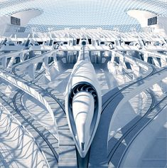 RB Systems proposes an exceptional Hyperloop Station and passenger pod. RB Systems unveiled this impressive futuristic design vision for a Hyperloop station. From the Architects website: Futuristic City, Futuristic Technology, Futuristic Design, Futuristic Architecture, Architecture Design, Minimalist Architecture, Futuristisches Design, Urban Design, Europa Express