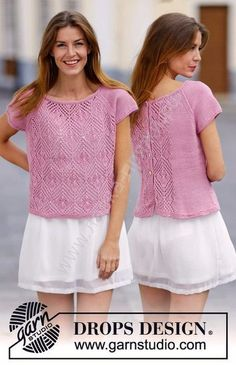 """Summer Chic / DROPS - Free knitting patterns by DROPS Design Knitted DROPS sweater in """"Muskat"""" or """"Belle"""" with lace pattern, raglan sleeves and buttons on the back. Drops Design, Summer Knitting, Easy Knitting, Lace Knitting Patterns, Summer Chic, Raglan, Jacket Pattern, Knit Crochet, Knit Lace"""