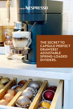 From spinning capsule racks to clever adjustable drawer dividers, discover 4 genius ways to organize your Nespresso capsules and keep your home coffee bar neat and tidy. Photos by: seasideinterior, jenise245, twosummerdogs, a.casa.da.ana