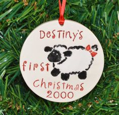 Personalized Baby's first Christmas ornament Lamb by DLpottery, $15.00