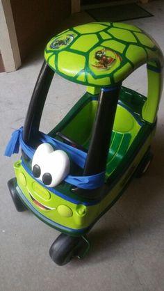 Ninja Turtle Room, Ninja Turtle Birthday, Ninja Turtle Party, Ninja Turtles, Boy Birthday, Turtle Car, Outdoor Fun For Kids, Backyard For Kids, Little Tikes Makeover
