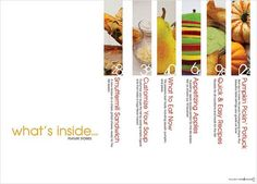 J'ai choisi une image très design, d'un sommaire présentant des recettes de cuisine.  source : Sommaire de magazine, designer: Kristine Campbell Quand j'ai vu ce sommaire sur Pintere…