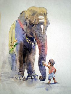 Baby animals drawings beautiful 51 Ideas for 2019 Indian Art Paintings, Animal Paintings, Watercolor Landscape Paintings, Watercolor Paintings, Abstract Paintings, Oil Paintings, Arte Ganesha, Art Sketches, Art Drawings